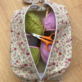 Large knitting or  craft project bag, zipped.
