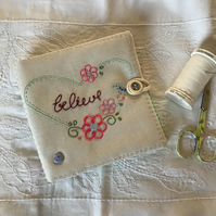 Embroidered needlecase. Heart and believe