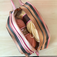 Expanding craft or knitting project bag, zipped.