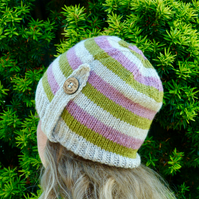 Ladies beanie knitted using Falklands wool