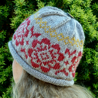 Womens beanie knitted using Falklands wool