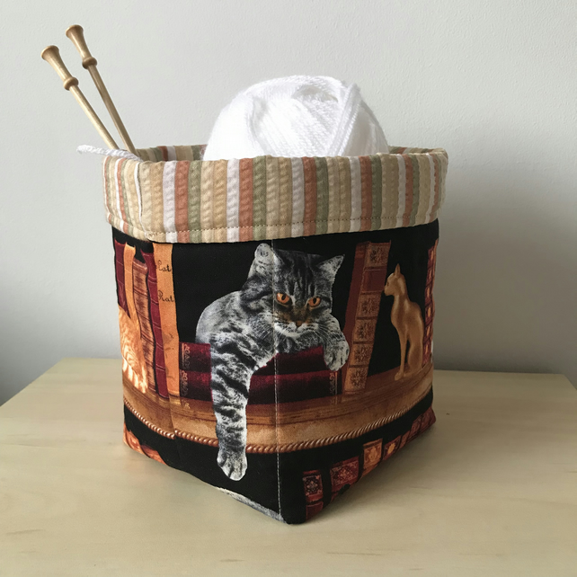 Cat and book fabric storage bin. .