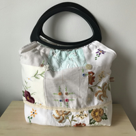 traditional knitting bag from vintage embroidery patchwork.