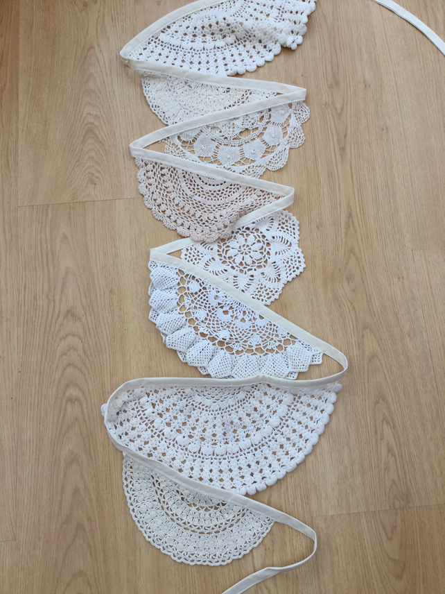 Vintage doily bunting, wedding or celebration