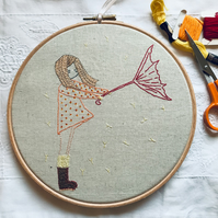 Hand embroidered girl in a storm, hoop art