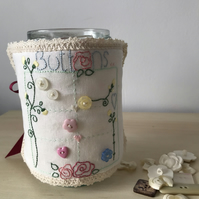 Button jar  cover. Embroidered