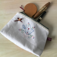 Zipped hand embroidered make up bag, make up pouch