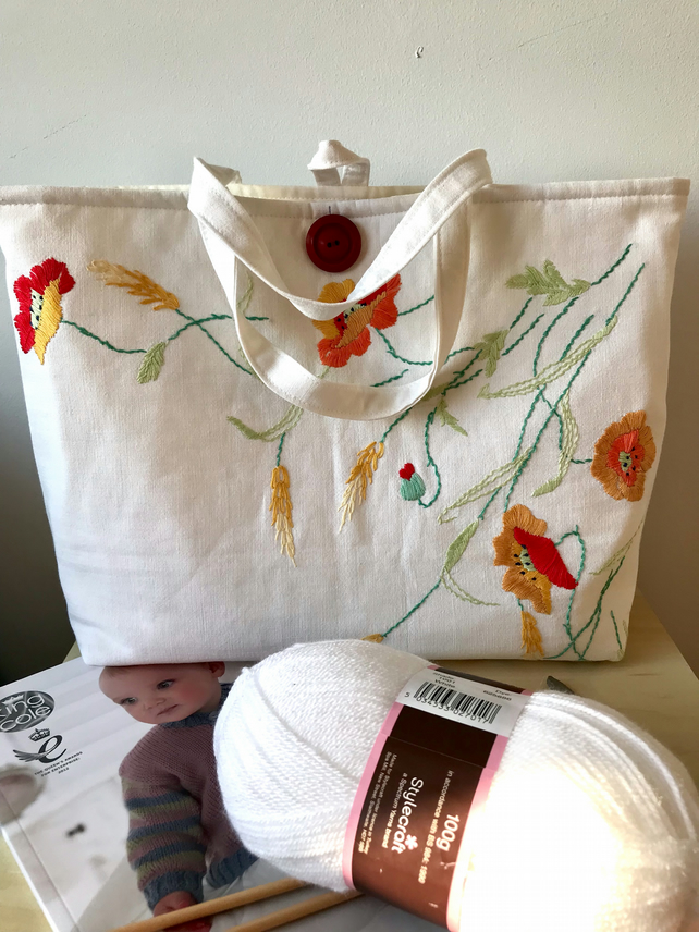 Crafters tote bag, organiser made from vintage embroidered cloth.