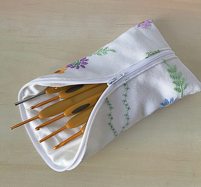 Zipped crochet hook, pencil, glasses case.  Vintage embroidery.
