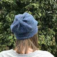 Womens  beanie hat. Hand knitted in fine alpaca yarn