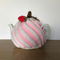 Strawberry Swirl tea cosy. 6 cup pot Charity