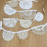 Vintage doily bunting, wedding or celebration, white and cream