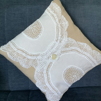 Vintage lace doily cushion cover and pad.