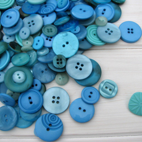 50g Turquoise Button Selection - Seascape