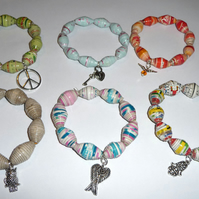 RESERVED LISTING Paper Bead Jewellery - Charm Bracelet