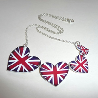 Union jack heart bunting necklace Great britain red white blue