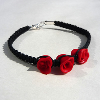 Gorgeous red rose bracelet