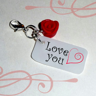 Love You clip on tag with red rose charm