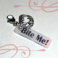 Bite Me! tag and vampire fangs charm