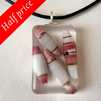 Paper Bead Resin Pendant