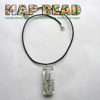 Map bead resin necklace