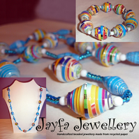 Stunning paper bead necklace set