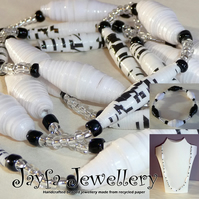 Handmade jewellery - Upcycled paper bead necklace & bracelet set