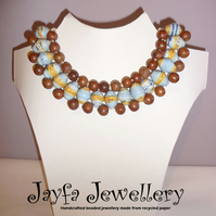 Handmade jewellery - Recycled paper bead necklace