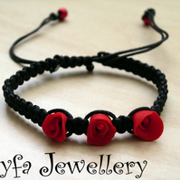 Handmade jewellery - Black Macrame Red Rose Bracelet