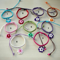 Handmade jewellery - Girls Macrame Bracelet with Fimo Charm