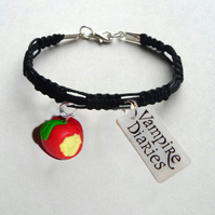 The vampire diaries tag and apple charm bracelet