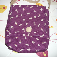 Gorgeous rabbit fabric messenger bag