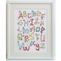 Unframed A3 Fairy, Rabbit and Butterfly A - Z  Alphabet  Print