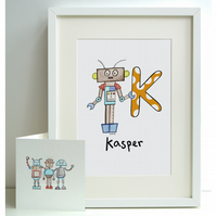 Personalised A4 Robot Print and Card Set - K, L, M, N or O  (Unframed)