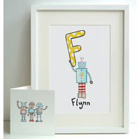 Personalised A4 Robot Print and Card Set - F, G, H, I or J  (Unframed)