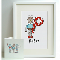 Personalised A4 Robot Print and Card Set - P, Q, R, S or T  (Unframed)