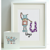 Personalised A4 Robot Print and Card Set - U, V, W, X or Y  (Unframed)