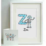 Personalised A4 Robot Print and Card Set - Z  (Unframed)