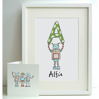 Personalised A4 Robot Print and Card Set - A, B, C, D or E  (Unframed)