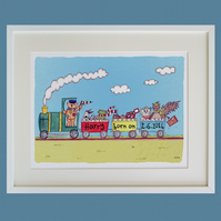 A3 Personalised Train Print ( Unframed )
