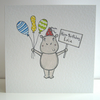 Personalised Hippo Birthday Card