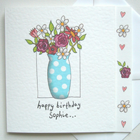 Personalised Vase of Flowers, Floral Birthday Card.