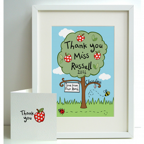 Unframed Personalised A4 Thank You Teacher Apple Tree Print with card.