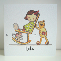 Personalised Doll and Teddy Card