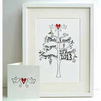 Unframed Personalised A4 Engagement Tree Print with coordinating card.