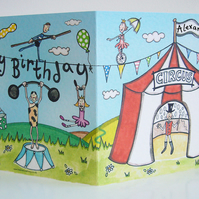 Personalised Circus Birthday Card