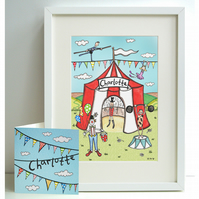 Unframed Personalised A4 Circus Print with coordinating card.