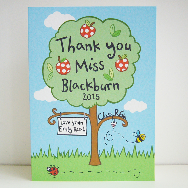 Large Personalised Thank You Teacher Card