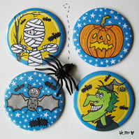 4 x Large Halloween 7.5cm Pocket Mirrors for the price of 3.