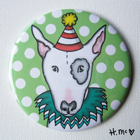 Large English Bull Terrier 7.5cm Pocket Mirror